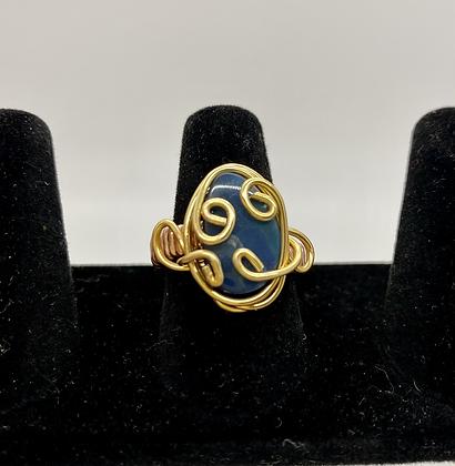 Blue Opal doublet copper ring