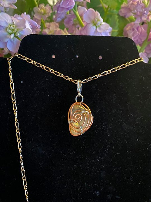 Citrine wrapped in copper