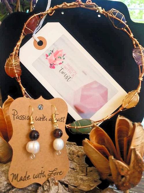 Red Garnet and Fresh Water Pearl Earrings