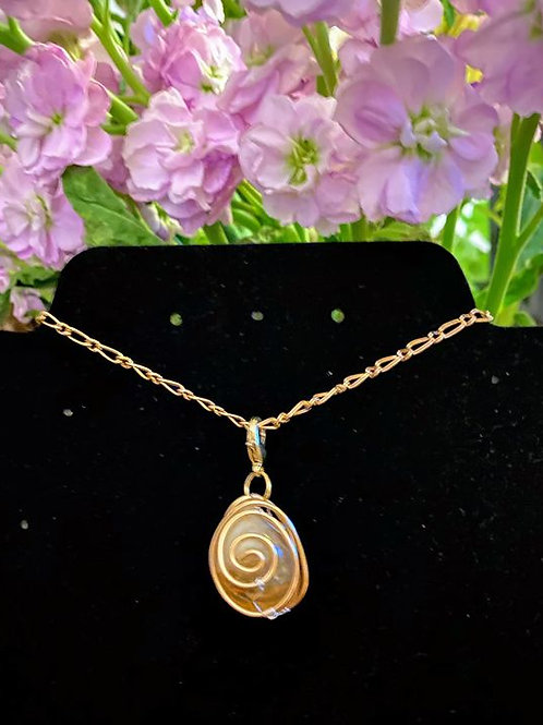 Citrine wrapped in copper and .925 sterling silver