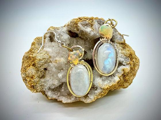 Welo Fire Opal & Moonstone dangle earrings