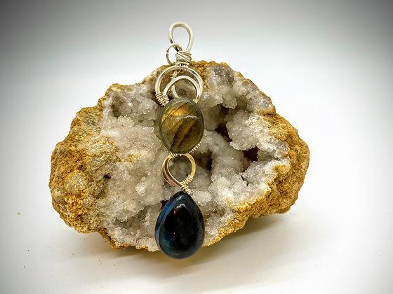 Yellow and Blue Labradorite pendant