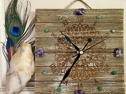 """It's Time""   Wood plaque clock"