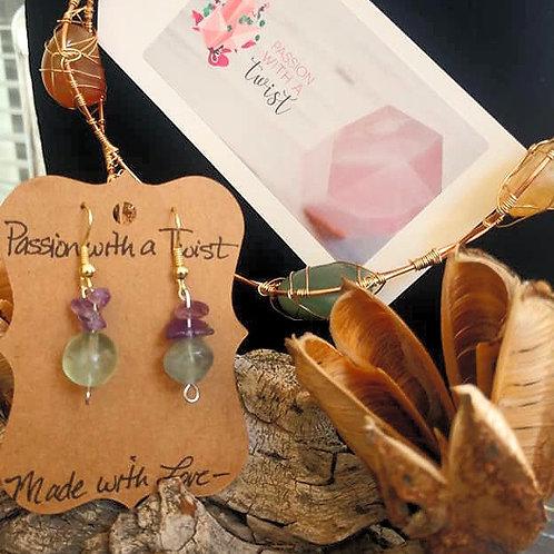 Amethyst and Rainbow Fluorite Dangle Earrings