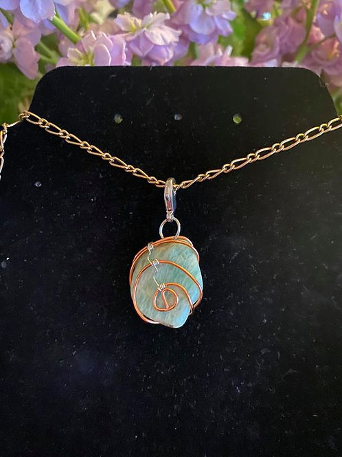 Amazonite wrapped in copper and .925 sterling silver