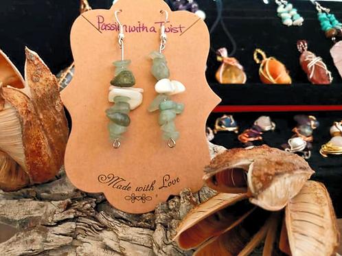 Aventurine and White Abalone Shell Dangle Earrings