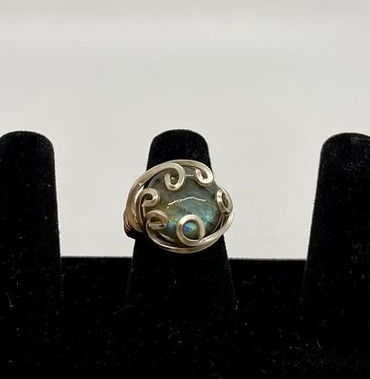 Labradorite silver wire ring