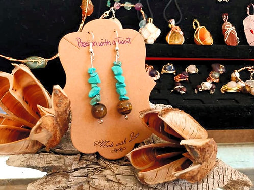 Turquoise and Tigers Eye Earrings
