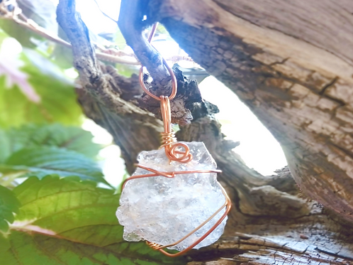Clear Quartz Copper Pendant