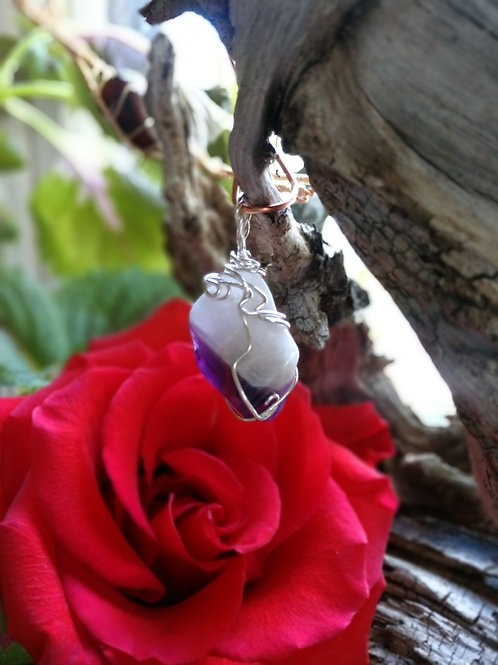 Chevron Amethyst wrapped in .925 sterling silver