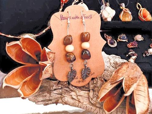 Tigers Eye and Wood Bead w/ Leaf Charm