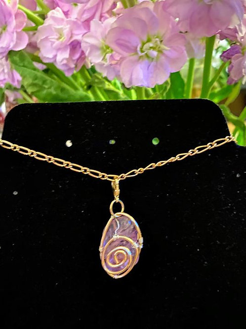 Amethyst wrapped in Copper and .925 sterling silver