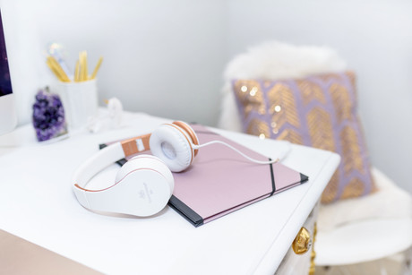 Headphones on office desk