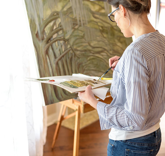 Baton Rouge artist Reb Godin painting
