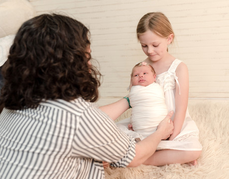 Melissa with newborn at photo session