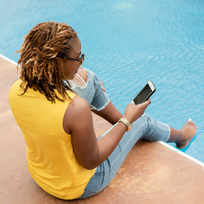 black woman at the pool