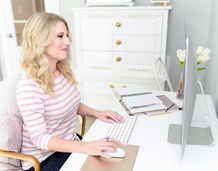Web designer working in her office