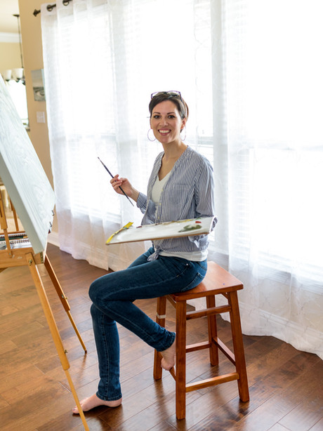 Artist at her home studio