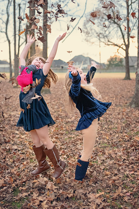 children, girls, leaves, jumping, baton rouge, meagan stone photography, lifestyle photography, brand photographer, family photographer, fall
