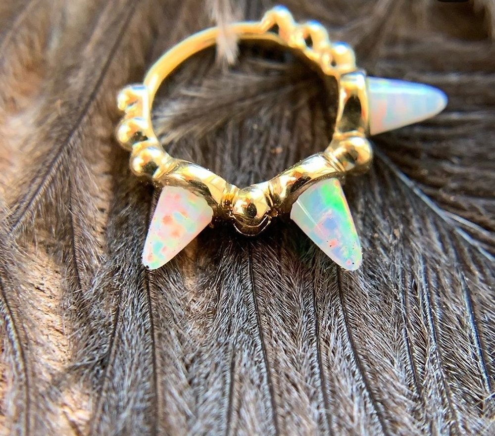 Triple Opal spiked granulated hing ring by Maria Tash, still available for a fun piercing!!!