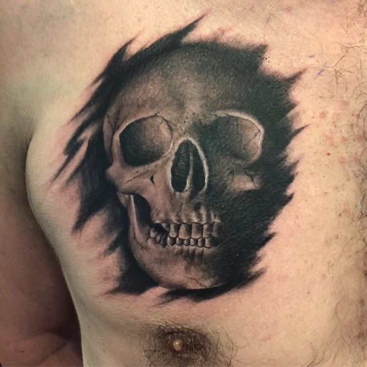Black and Grey Skull