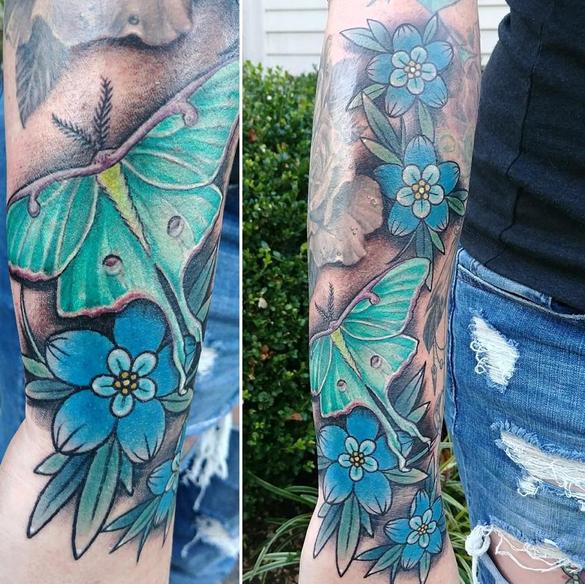 Luna Moth and Floral