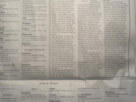 Schwäbische Zeitung Ravensburg 31.12.2020