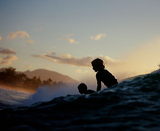 Surfing as a kid in North Shore Hawaii