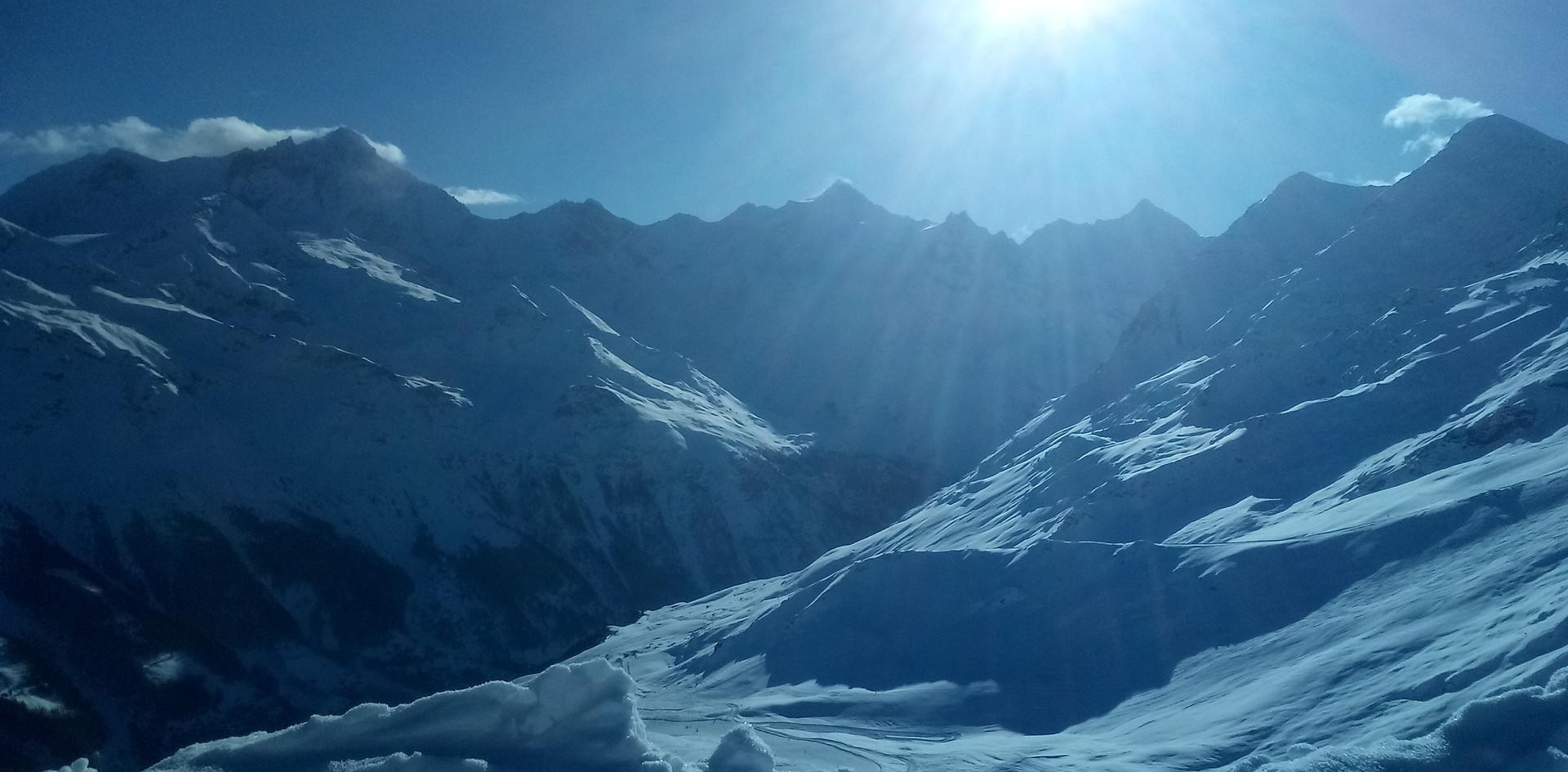 hoog in de bergen