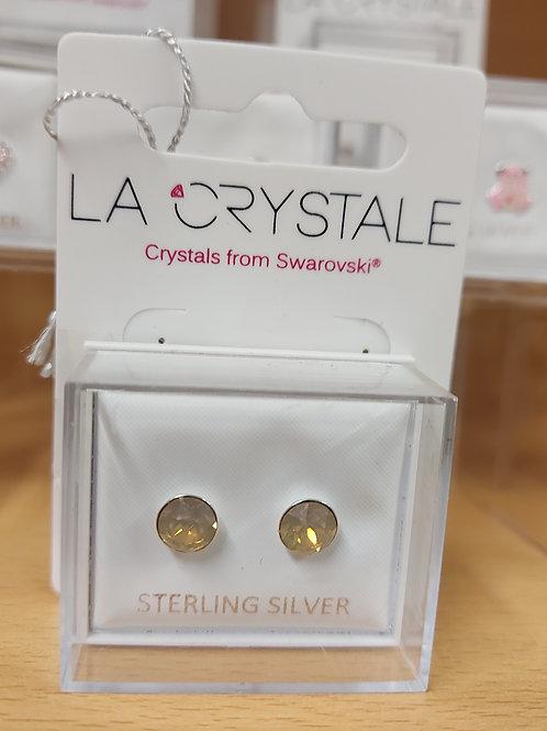 Greige Swarovski crystal round earrings. 925 silver.