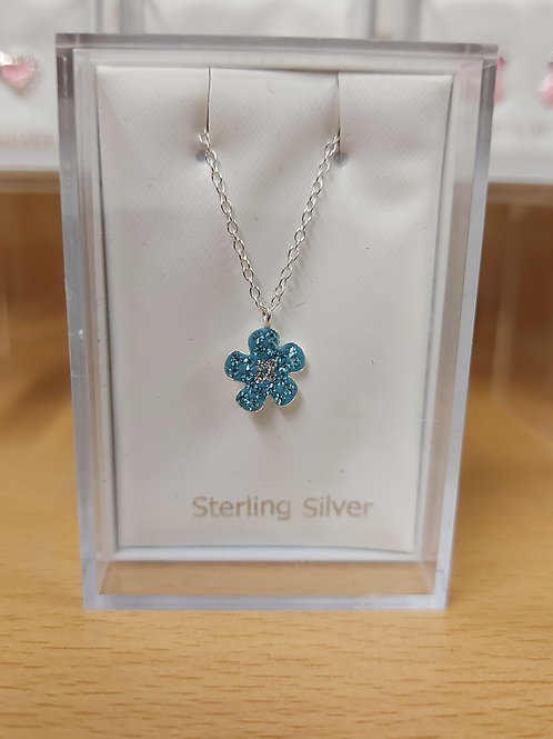 Childs cubic zirconia flower pendant and chain. Turquoise. 925 silver.
