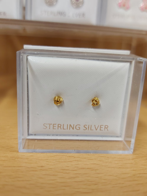 Small gold coloured knot earrings. 925 silver