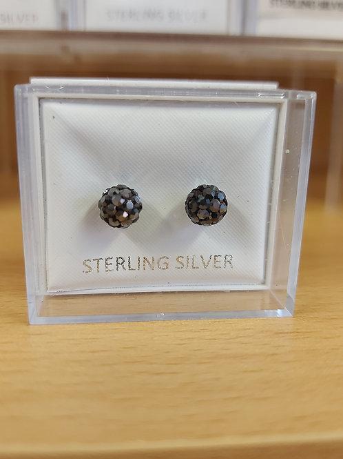 Black crystal ball. 925 silver.