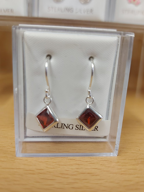 Square purple crystal earrings. 925 silver
