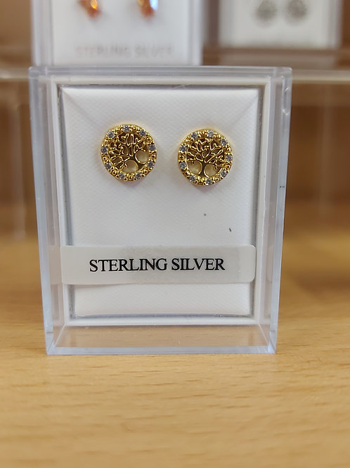 Stunning tree of life earrings set with gold plate overlay. 925 silver.