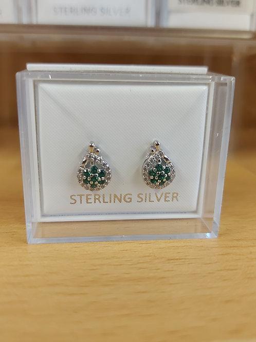 Deep emerald green and clear crystal gemstone  925 silver.
