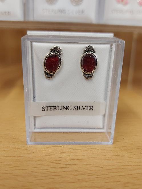 Genuine garnet antique style earrings. 925 silver