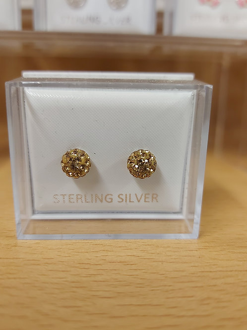 Gold coloured shambala earrings. 925 silver.
