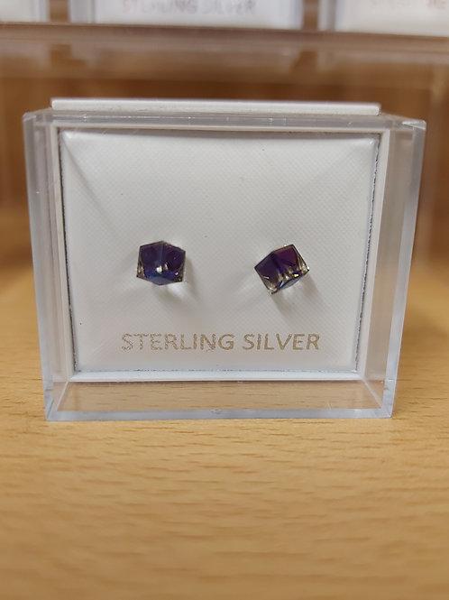 Cubic zirconia AB crystal cube earrings. 925 silver.
