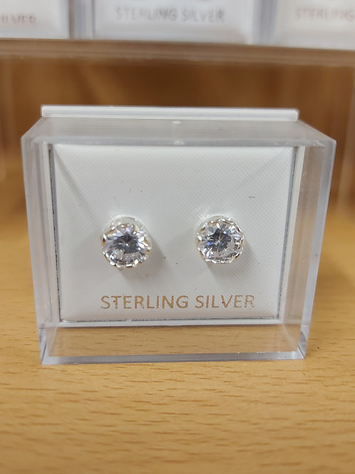 Round clear crystal earrings. 925 silver