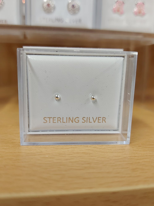 Tiny, tiny 2mm silver ball earrings. 925 silver