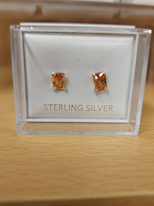 Rectangle cubic zirconia yellow earrings. 925 silver.