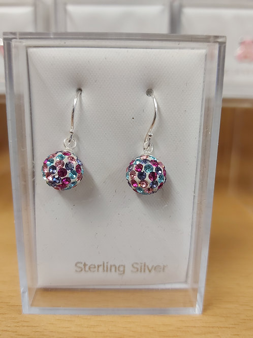 Multi colour crystal ball earring with a touch of sparkle. 925 silver.