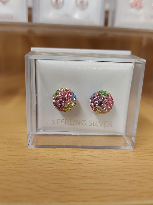 Multi coloured shambala disco ball earrings. 925 silver.
