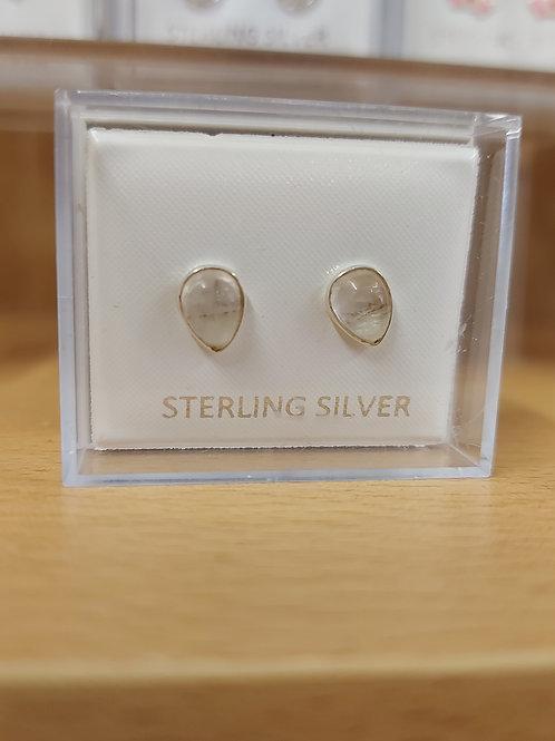 Mother of Pearl pear drop earrings. 925 silver.