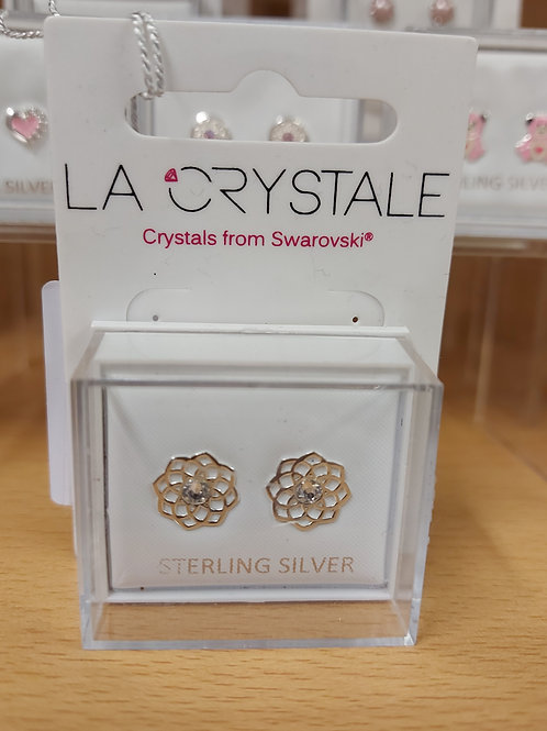 Swarovski flower earrings. 925 silver.