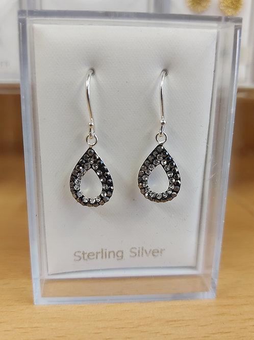 Pear drop black and plain crystal earrings. Drop. 925 silver.