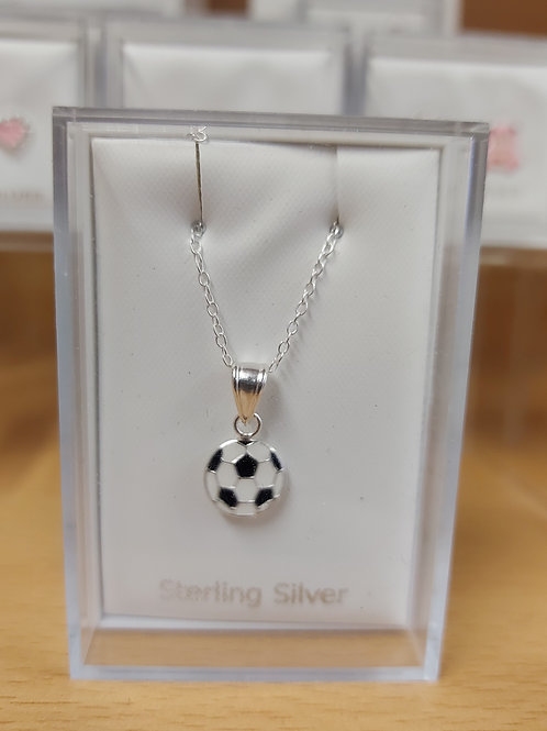 Childs football pendant and chain. 925 silver.