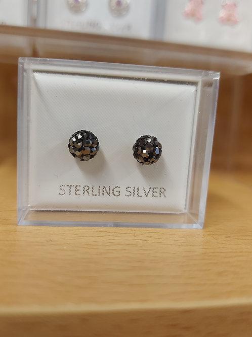 Black crystal effect shambala disco ball earrings. 925 silver