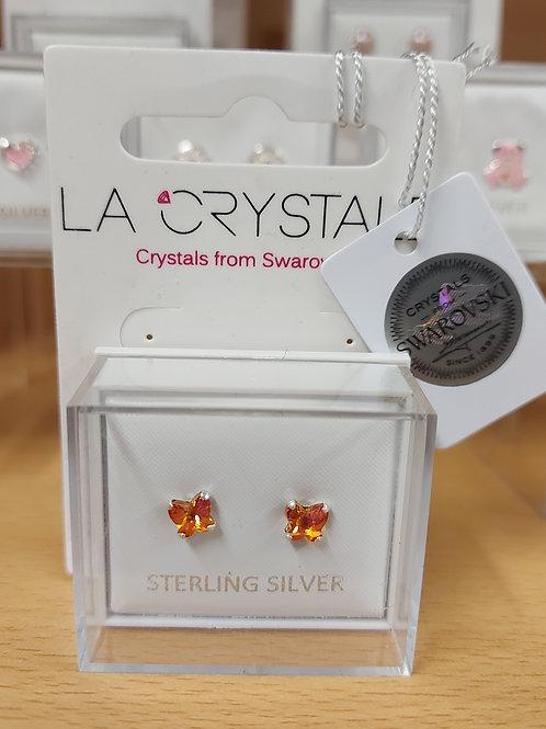 Swarovski orange butterfly earrings. 925 silver.